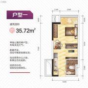 盛荟天地1室1厅1卫35平方米户型图