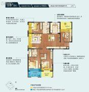 朗诗绿色街区4室2厅2卫140平方米户型图
