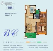 雅居乐依云小镇2室2厅1卫70平方米户型图