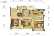 中铁骑士府邸3室2厅2卫90平方米户型图