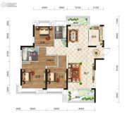 保利时代3室2厅2卫127平方米户型图