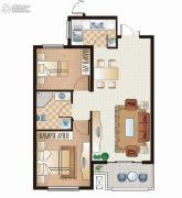 逸城山色2室2厅1卫78平方米户型图
