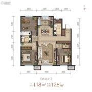 沈阳龙湖・天宸原著3室2厅2卫118平方米户型图
