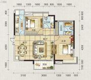 海天瑶2室2厅2卫91平方米户型图