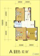金丰・半山庭院2室2厅1卫82平方米户型图