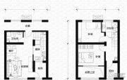 亿科公元20102室1厅1卫54平方米户型图