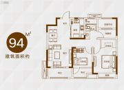 信达天御2室2厅1卫94平方米户型图