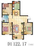 金鼎绿城3室2厅1卫122平方米户型图