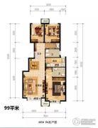 潮白河孔雀城盛景澜湾3室2厅2卫99平方米户型图
