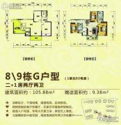 湘桂・盛世名城2室2厅2卫105平方米户型图
