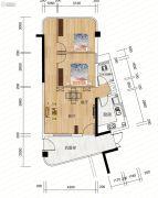 麓山枫情2室2厅1卫64平方米户型图