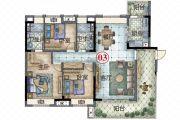 保利林语3室2厅2卫132平方米户型图
