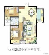 聚湖雅苑2室2厅1卫87平方米户型图