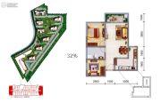 御锦城2室2厅1卫79平方米户型图