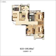 万景・三号院3室2厅1卫105平方米户型图