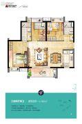 时代水岸3室2厅2卫100平方米户型图