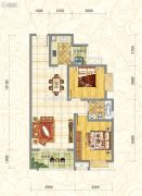 世俊国际2室2厅1卫83平方米户型图