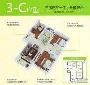 泰华・奥体花园3室2厅1卫100平方米户型图