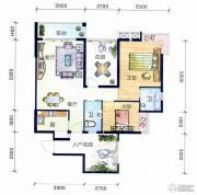 丽水南珠花园2室2厅2卫96平方米户型图