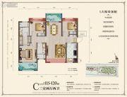 中城悦城3室2厅2卫115--120平方米户型图
