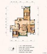财信沙滨城市3室2厅1卫88平方米户型图