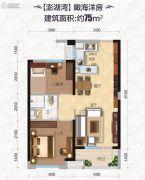 碧桂园・滨海城2室2厅1卫75平方米户型图