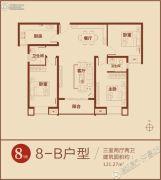 鼎鑫鑫悦广场3室2厅2卫121平方米户型图