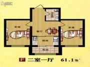 东方・新湖俪城2室1厅1卫61平方米户型图