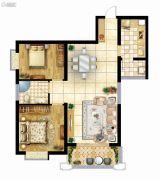 曲江龙邸2室2厅1卫90平方米户型图