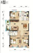 碧桂园天玺3室2厅1卫104--107平方米户型图