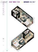远洋钻石湾・邦舍1室1厅1卫44平方米户型图