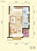 恒大御景半岛1室1厅1卫54平方米户型图