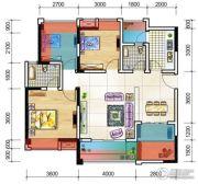 元嘉金江春天2室2厅2卫96平方米户型图