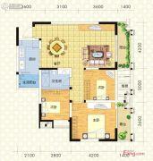 实地成都海棠名著3室2厅1卫95平方米户型图