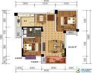 轩华・万华庭2室2厅1卫84平方米户型图