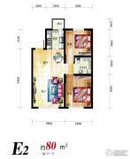 像素公园2室2厅1卫80平方米户型图