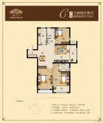 荣悦华府3室2厅2卫129平方米户型图