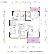 凯景华府3室2厅2卫123平方米户型图
