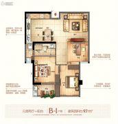 富闽时代广场3室2厅1卫97平方米户型图