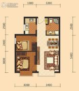 伊水湾2室2厅1卫67平方米户型图