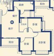 恒大御景湾3室2厅1卫0平方米户型图