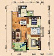 园方欧洲城2室2厅1卫88平方米户型图