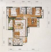 名爵世家3室2厅2卫116平方米户型图