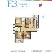 现代奥城3室2厅2卫122平方米户型图