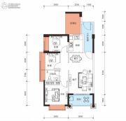 鑫月城3室2厅1卫88平方米户型图