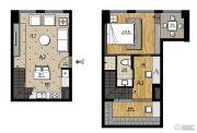 帝景现代城1室1厅1卫44平方米户型图