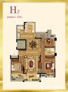 紫金艺境3室2厅2卫120平方米户型图