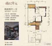 泓景苑2室2厅1卫70平方米户型图