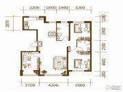 蔚蓝国际3室2厅2卫134平方米户型图