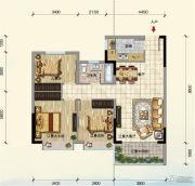 江畔大地3室2厅1卫97平方米户型图